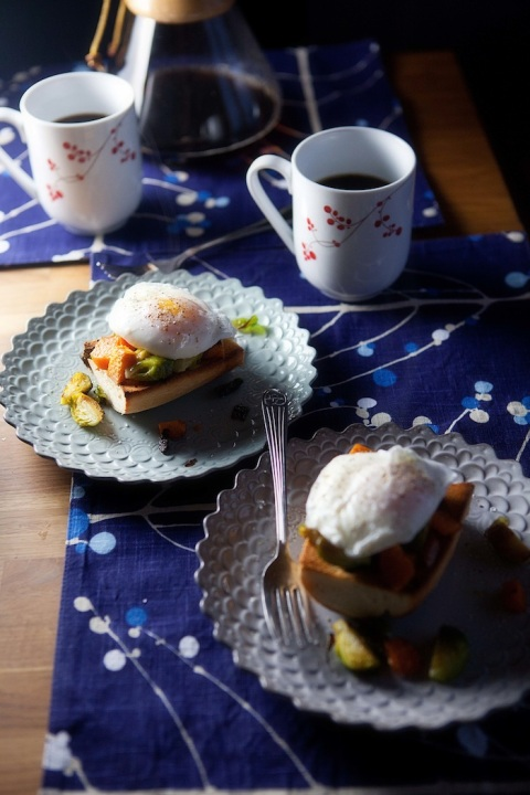 poached eggs sweets and brussels 1