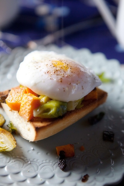 poached eggs sweets and brussels close