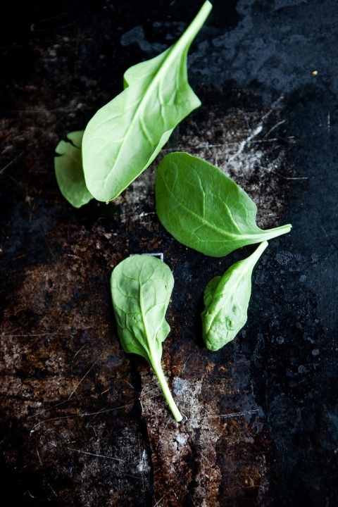 spinach leaves overhead
