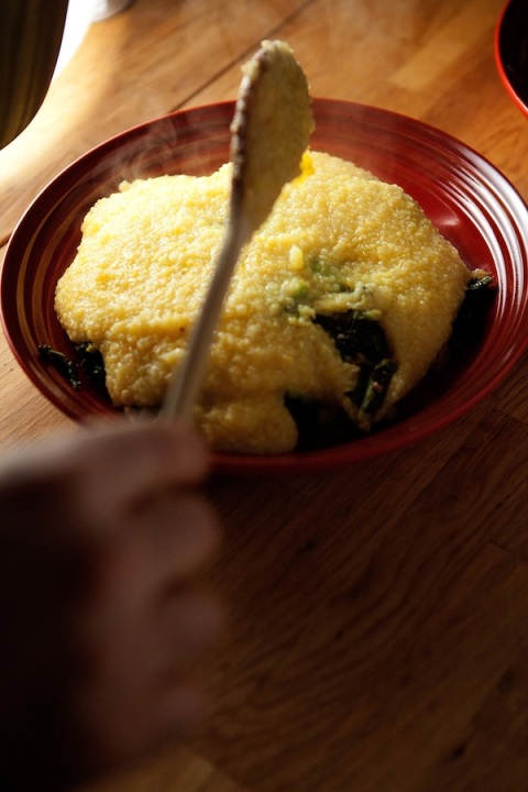 covering greens with polenta