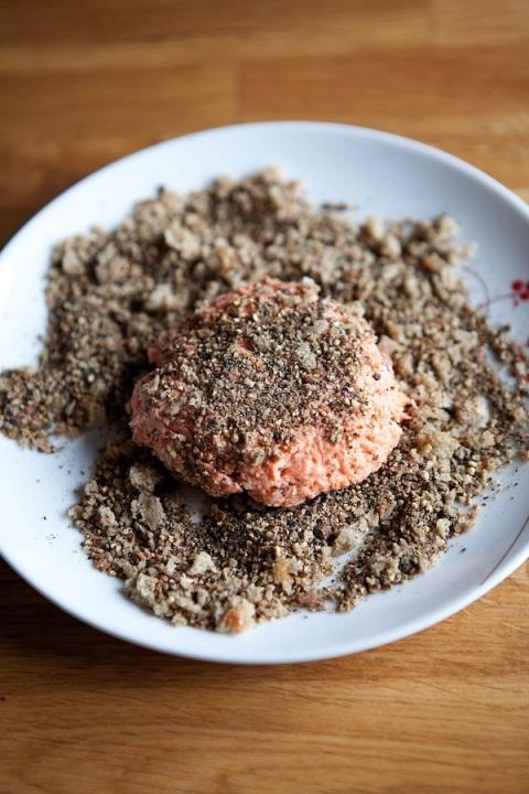 pepper salmon patties pepper crust