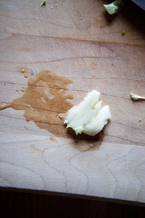 smashed garlic clove