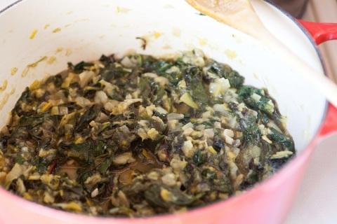 stewed leeks and greens
