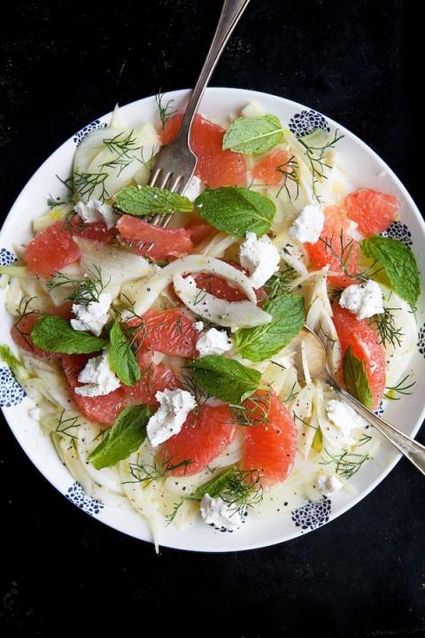 fennel grapefruit salad serving