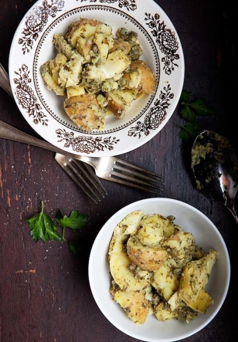 potato artichoke salad overhead
