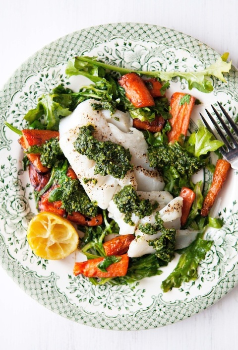 roast fish pistachio pesto